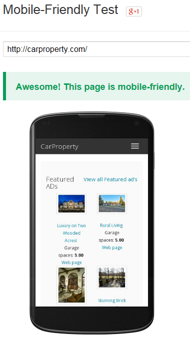 Article: April 21st 2015 - Google Mobile Friendly Algorithm Doesn't Catch CarProperty.com off guard