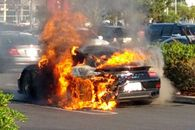 2014 Porsche Turbo 911 S Burning to the ground